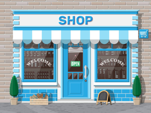 Small european style shop exterior. Empty store front with window and door. Wooden and brick facade. Glass showcase of boutique. Small european style shop exterior. Commercial, property, market or supermarket. Flat vector illustration facade stock illustrations