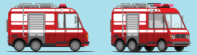 Small fire engine, small fire truck, with side view and 3/4 view