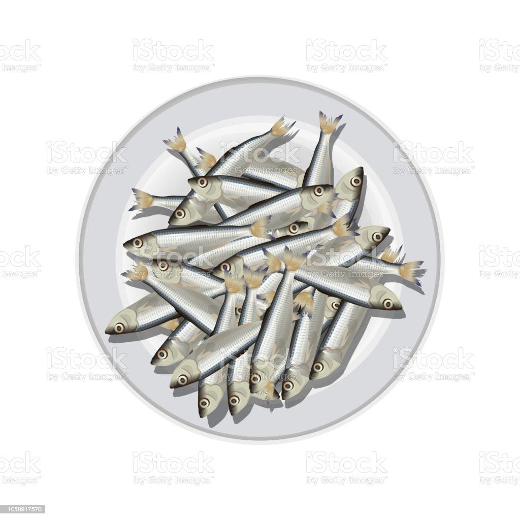 Peces pequeños en el plato blanco. - ilustración de arte vectorial