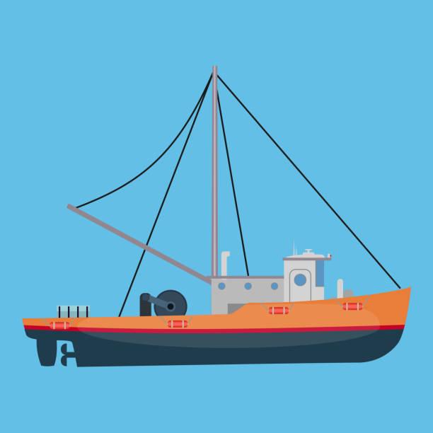 ilustrações de stock, clip art, desenhos animados e ícones de small fishing boat - fishing boat