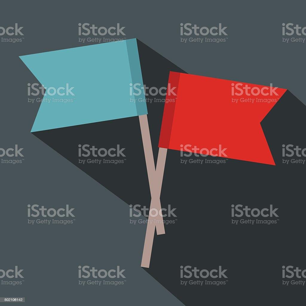2 small flags flat icon vector art illustration