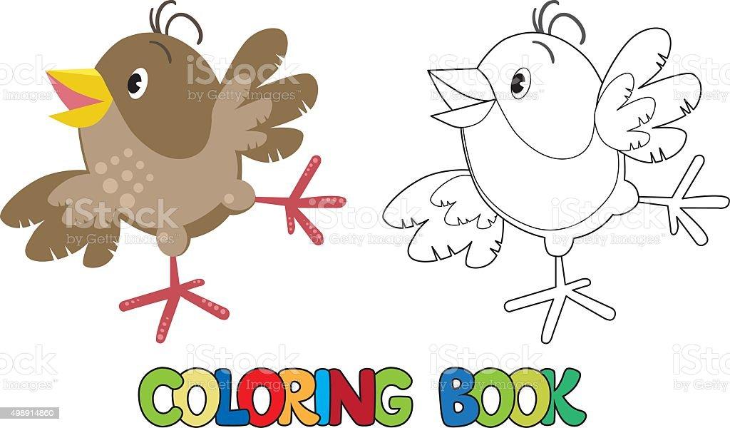 Ilustración de Funny Gorrión Pequeño Libro Para Colorear y más banco ...