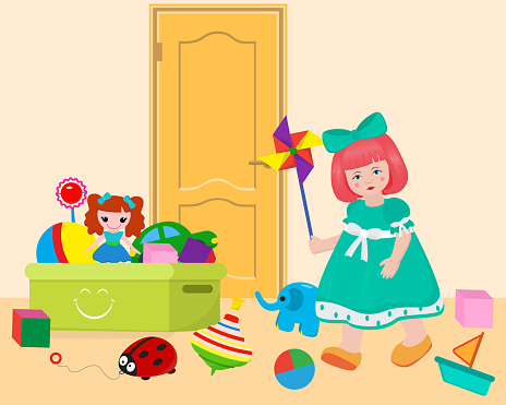 Small girl in game room playing with toys on door background banner vector illustration. Box with ball, doll, car, bricks. Elephant, boat, lady beetle. Kid in dress with bow.