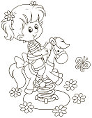 Smiling child swinging on a recreation ground in a summer park, black and white vector illustration in a cartoon style for a coloring book