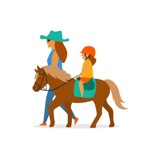 小さな女の子乗馬ポニー ベクトル グラフィック - 乗馬点のイラスト素材/クリップアート素材/マンガ素材/アイコン素材