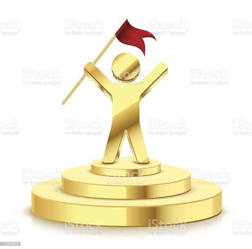 Small gold trophy showing man successfully holding flag royalty-free stock vector art