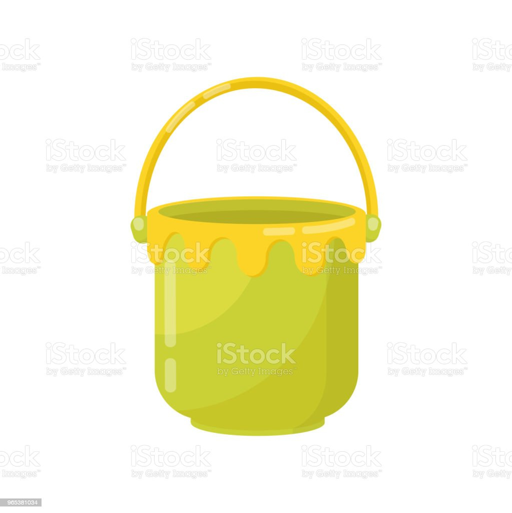 Small green bucket with yellow handle. Plastic container for carry liquids. Flat vector item for chicken games in sandbox small green bucket with yellow handle plastic container for carry liquids flat vector item for chicken games in sandbox - stockowe grafiki wektorowe i więcej obrazów bez ludzi royalty-free