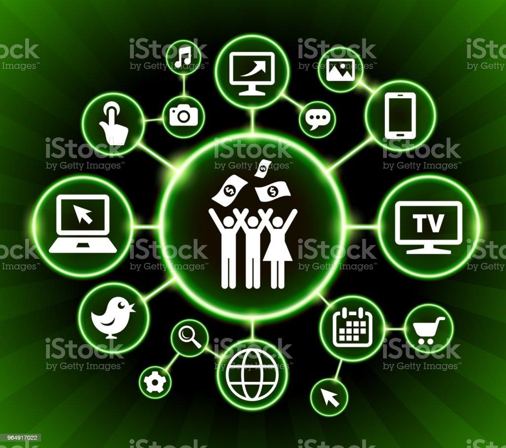 Small Group Celebration & Money Internet Communication Technology Dark Buttons Background - Royalty-free Arrow Symbol stock vector