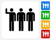 Small Group Icon. This 100% royalty free vector illustration features the main icon pictured in black inside a white square. The alternative color options in blue, green, yellow and red are on the right of the icon and are arranged in a vertical column.