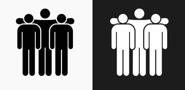 stockillustraties, clipart, cartoons en iconen met small group pictogram op zwart-wit vector achtergronden - wat