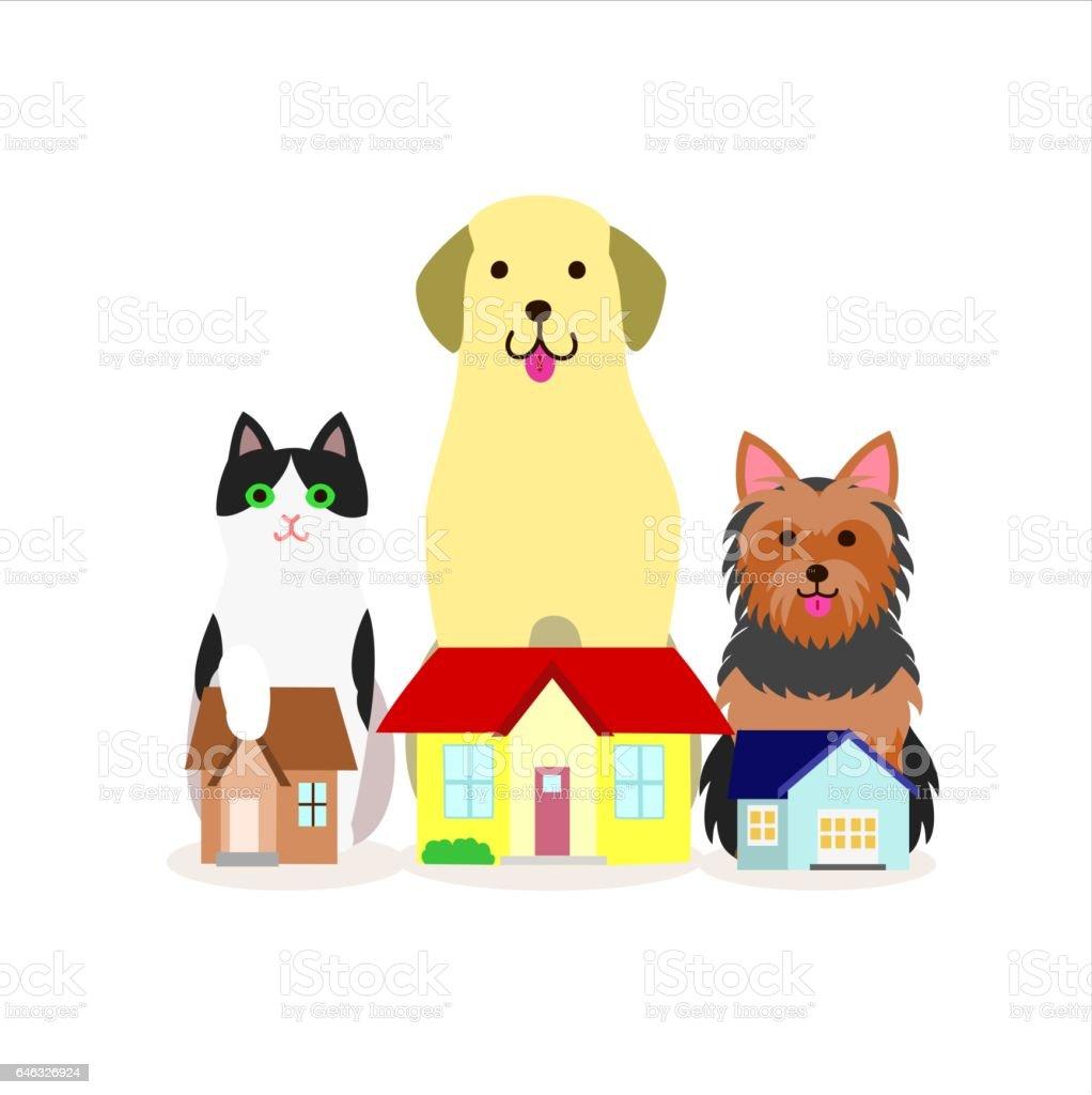 犬猫の小グループ イラストレーションのベクターアート素材や画像を
