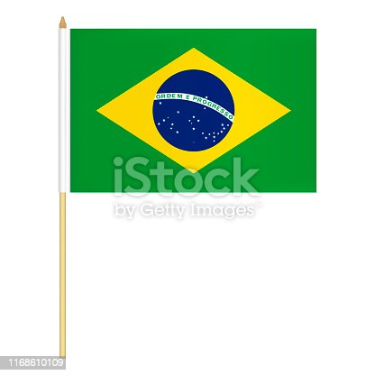 istock Small hand held Brazilian flag isolated on white background, vector illustration. Mini flag of Brazil on pole 1168610109