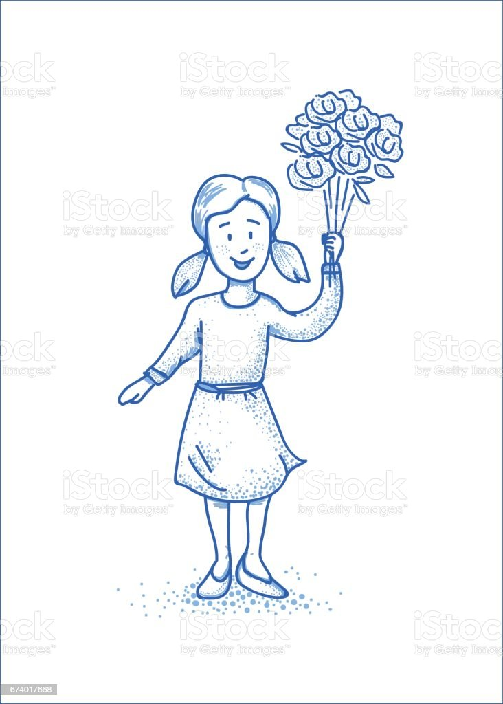 Small happy girl with flowers. Blue line illustration. royalty-free small happy girl with flowers blue line illustration stock vector art & more images of adult