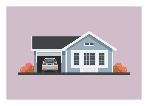 mały dom z samochodem w otwartym garażu. - house stock illustrations