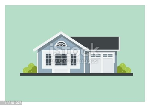 istock small home with garage, simple illustration 1142101073