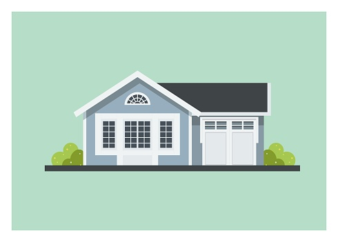 small home with garage, simple illustration