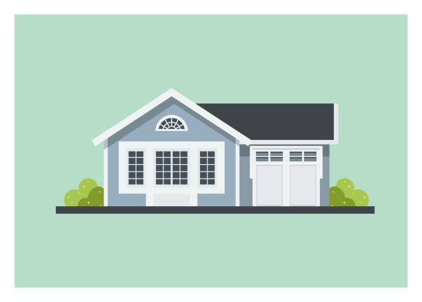 small home with garage, simple illustration - house stock illustrations