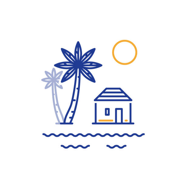 Small house and palm trees, bungalow by river or sea Island paradise, resort with bungalow on the sea shore, summer house, vector line illustration villa stock illustrations