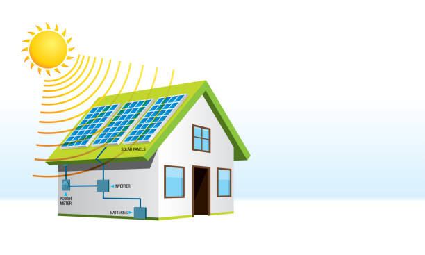 small house with solar energy installation with names of system components in white background. renewable energy - alejomiranda stock illustrations