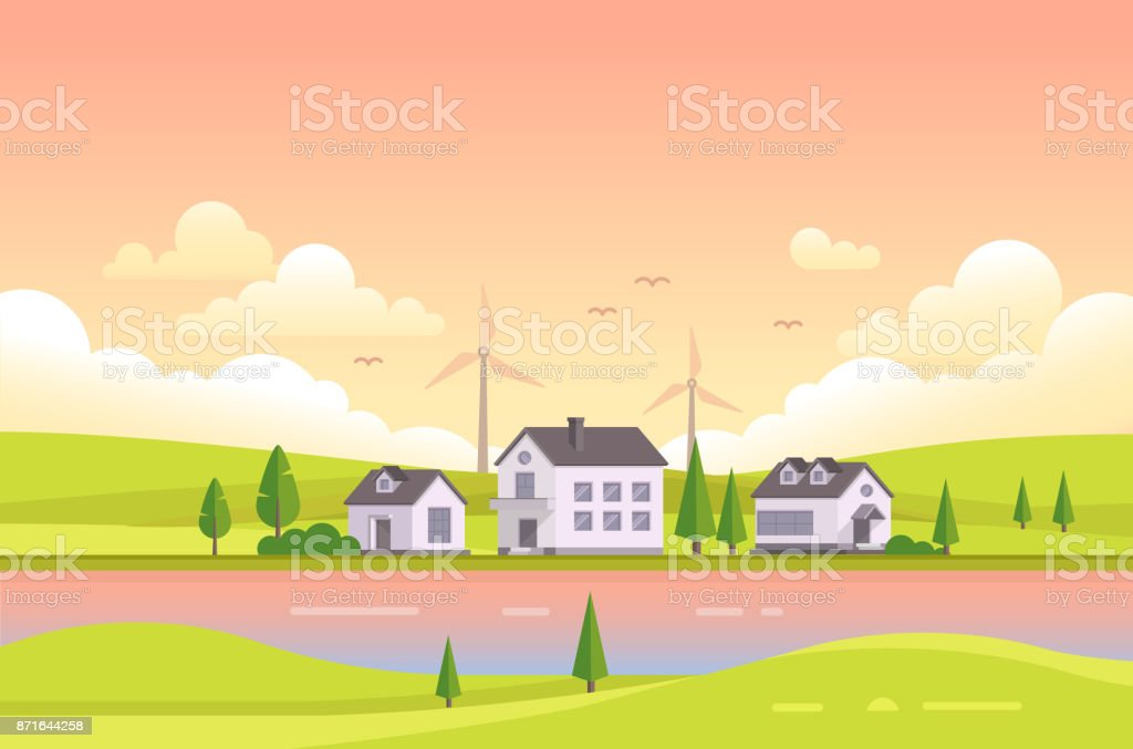Petites maisons de la rivière pendant le coucher du soleil - illustration vectorielle moderne - Illustration vectorielle