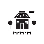 Small hut black vector concept icon. Small hut flat illustration, sign