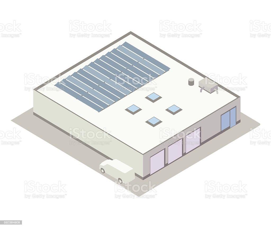 Small industrial building isometric illustration vector art illustration