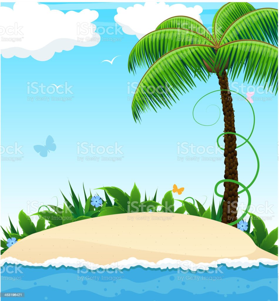 Small island with a palm tree royalty-free stock vector art