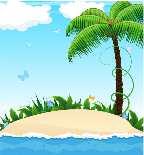 Palm Tree Island: Best Desert Island Illustrations, Royalty-Free Vector