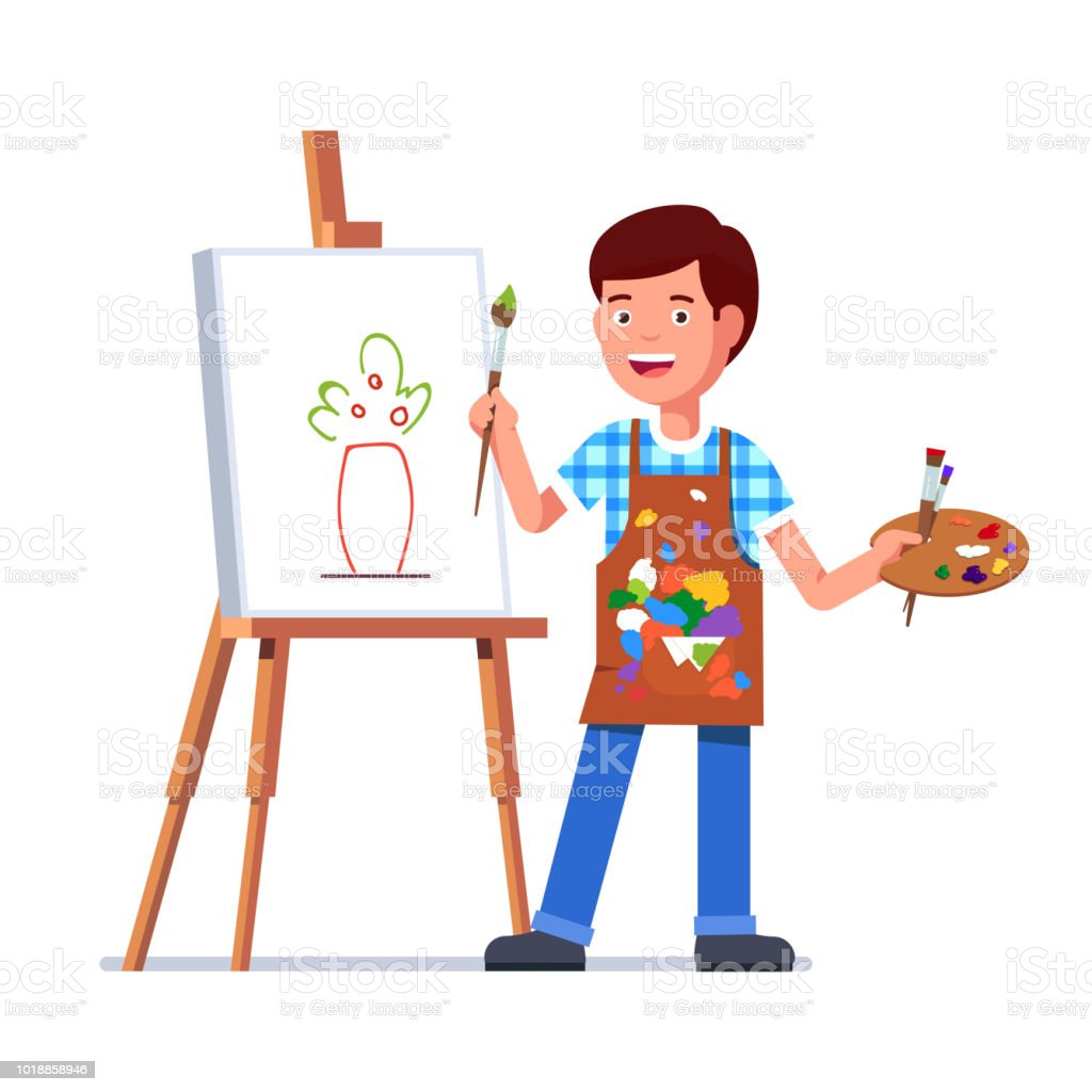 small kid boy standing on easel painting flowers picture sketch on