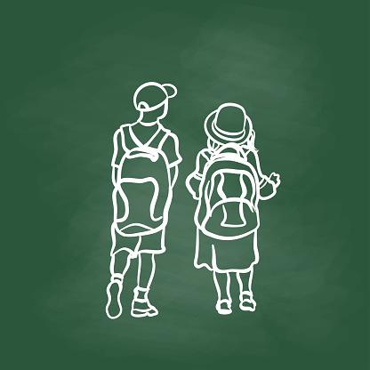 Small Kids Heavy Load Backpacks Sketch Chalkboard