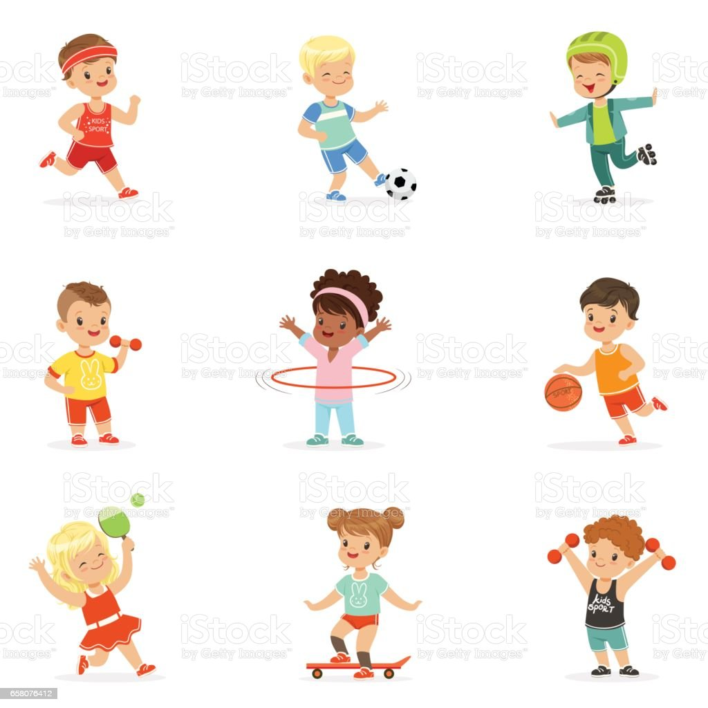 Small Kids Playing Sportive Games And Enjoying Different Sports Exercises Outdoors And In Gym Set Of Cartoon Illustrations royalty-free small kids playing sportive games and enjoying different sports exercises outdoors and in gym set of cartoon illustrations stock vector art & more images of childhood