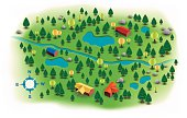 Small rural landscape with trees, lakes, rivers and homes from above with a bird's eye view. EPS 10 file. Transparency effects used on highlight elements.