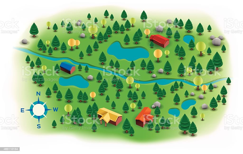 Small Landscape Trees and Homes Map vector art illustration