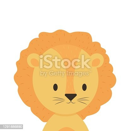 Small lion, childish naive in Scandinavian style, trendy cute animal isolated on white background. Card, print, shower or design element.