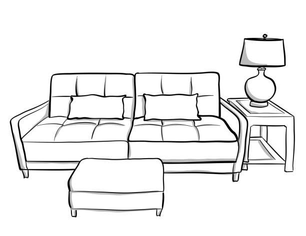 Kleine Wohnzimmer-Couch – Vektorgrafik
