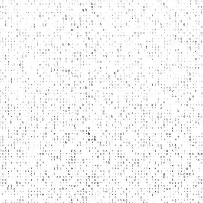 Small lowercase gray tone alphabet characters. Random size.