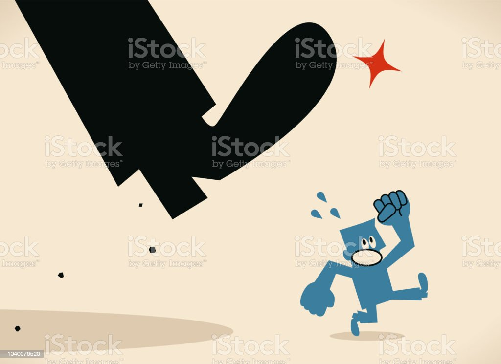 Small man escaping from the big foot vector art illustration