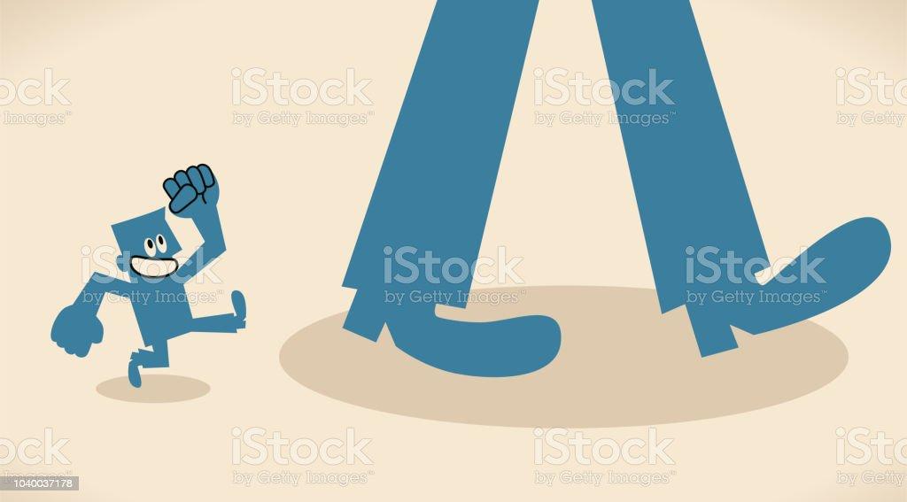 Small man following a big foot vector art illustration