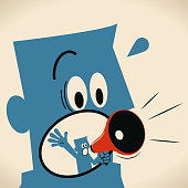 Blue Little Guy Characters Full Length Vector art illustration.Copy Space. Small man inside giant man's mouth talking with megaphone.