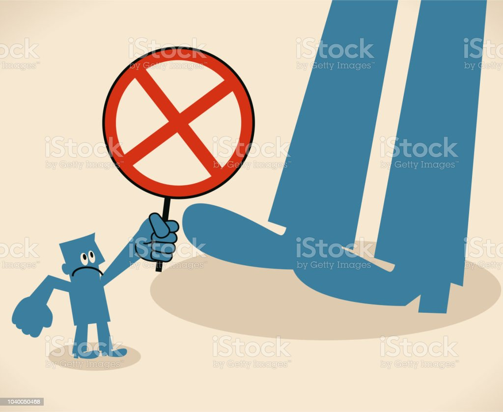 Small man showing a cross-shaped sign to a big foot vector art illustration