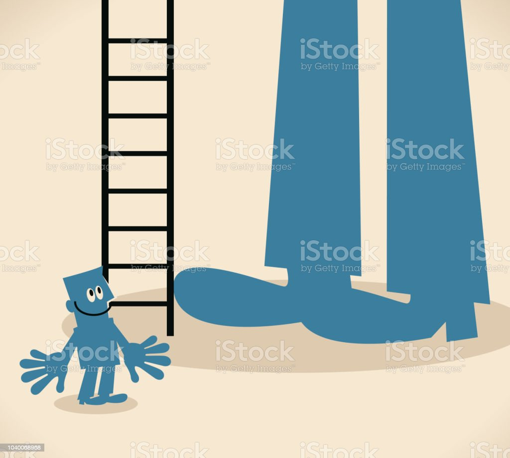 Small man standing in front of a big foot and a ladder vector art illustration