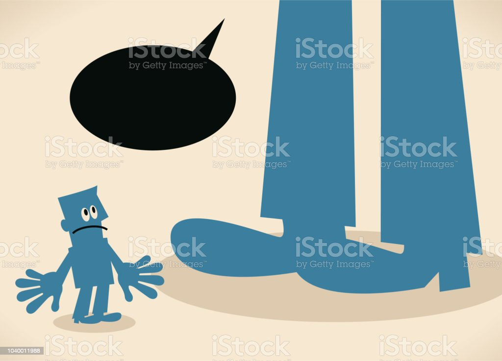 Small man standing in front of a big foot vector art illustration