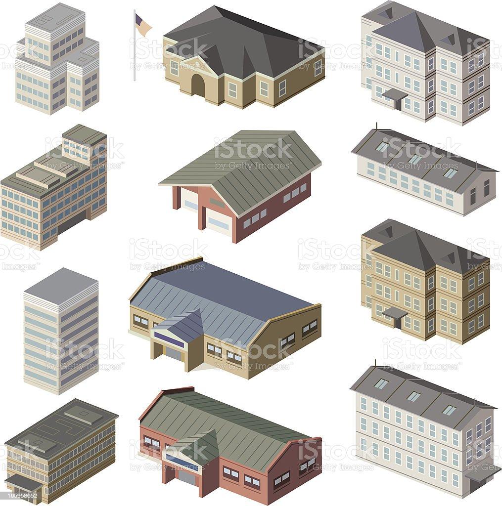 Small, Med, large buildings vector art illustration