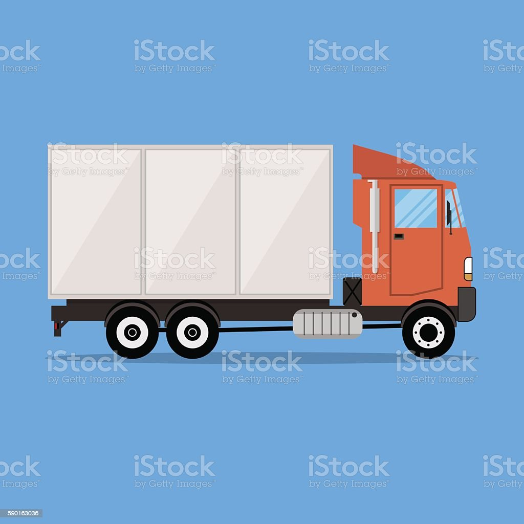 small modern cargo truck for transportation vector art illustration