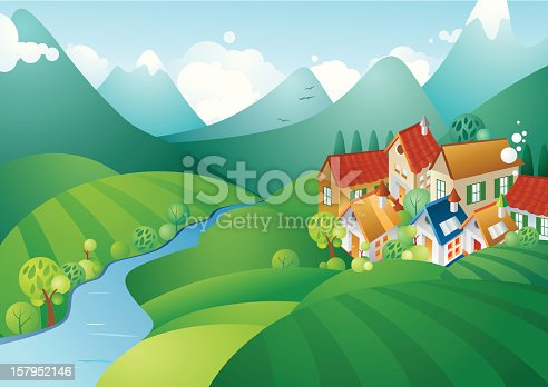 Vector illustration of the cute little village in the mountains. All objects grouped smartly.