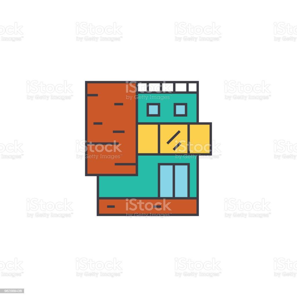 Kleines Burohaus Linienkonzept Symbol Kleines Burohaus Flache Vektorzeichen Symbol Illustration Stock Vektor Art Und Mehr Bilder Von Abstrakt Istock