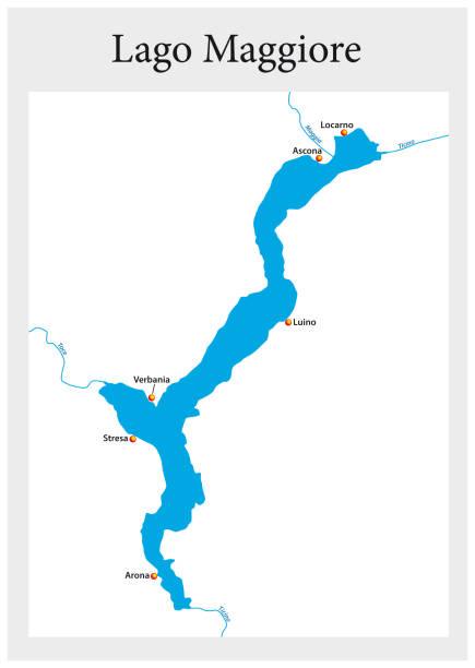 stockillustraties, clipart, cartoons en iconen met overzicht van de kleine kaart van de bovenste italiaanse lago maggiore, italië. - lecco lombardije
