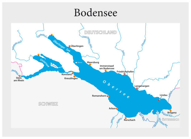 Small overview vector map of Lake Constance in German language Small overview vector map of Lake Constance in German language Bodensee stock illustrations