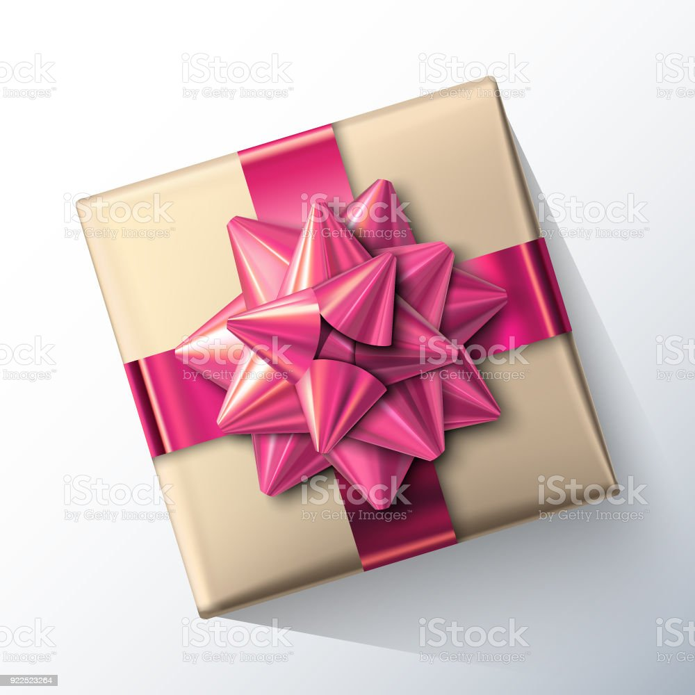 Small Paper Gift Box With Big Glittering Pink Bow And Ribbons