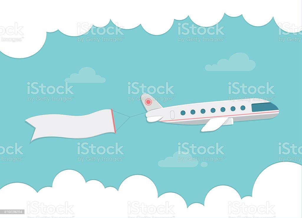 Small passenger plane carrying a banner. Flat style vector illustration. vector art illustration